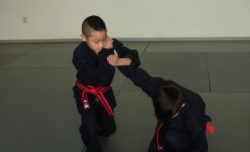 kids learning joint locks in martial arts